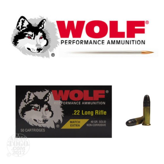 500rds - 22LR Wolf Match Extra 40gr. Round Nose