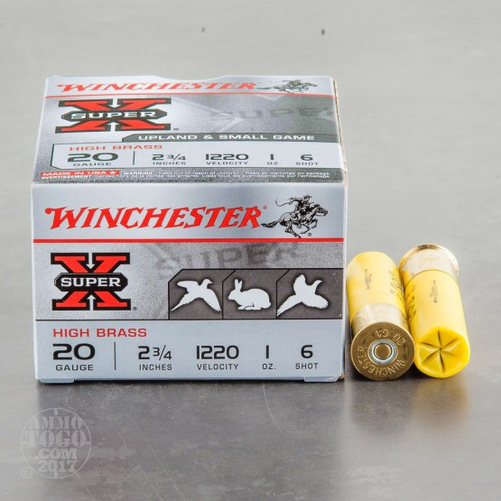 "250rds - 20 Gauge Winchester Super-X High Brass Game Load 2 3/4"" 1 oz. #6 Shot"