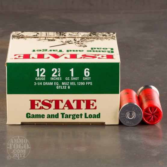 "250rds - 12 Gauge Estate 2 3/4"" 3 1/4 Dram 1oz. #6 Shot Ammo"