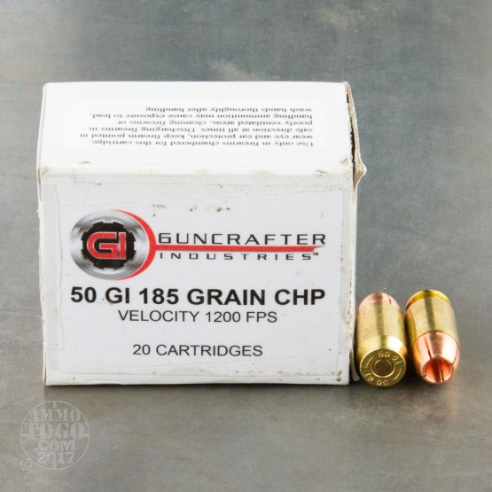 20rds - 50 GI Guncrafter 185gr. Copper Hollow Point Ammo