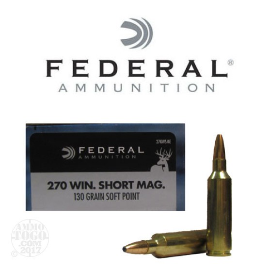 20rds - 270 WSM Federal Power-Shok 130gr. Soft Point Ammo