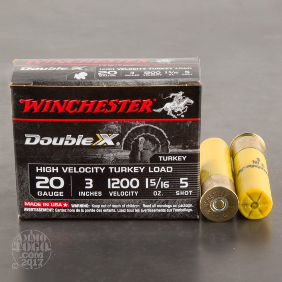 "10rds - 20 Gauge Winchester Supreme High Velocity 3"" 1 5/16oz. #5 Turkey Load"