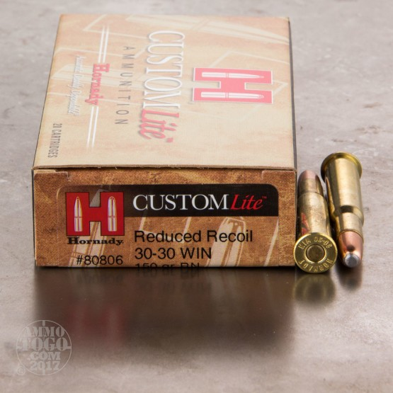20rds - 30-30 Hornady CustomLite 150gr. Round Nose Soft Point Ammo