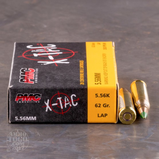20rds - 5.56 NATO PMC X-TAC 62gr. Green Tip Penetrator Ammo