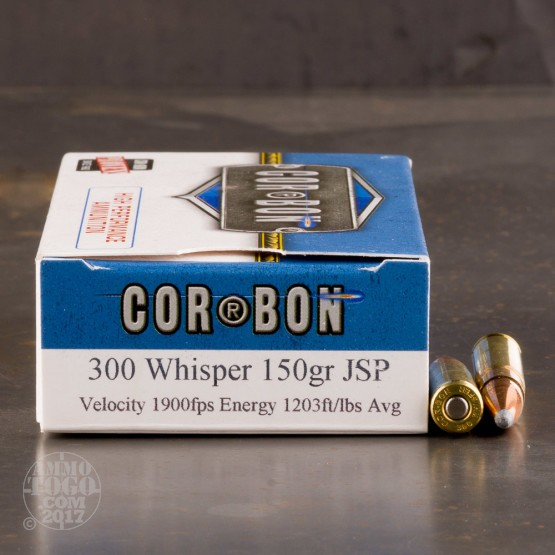 20rds - 300 Whisper Corbon Hunter 150gr. JSP Ammo