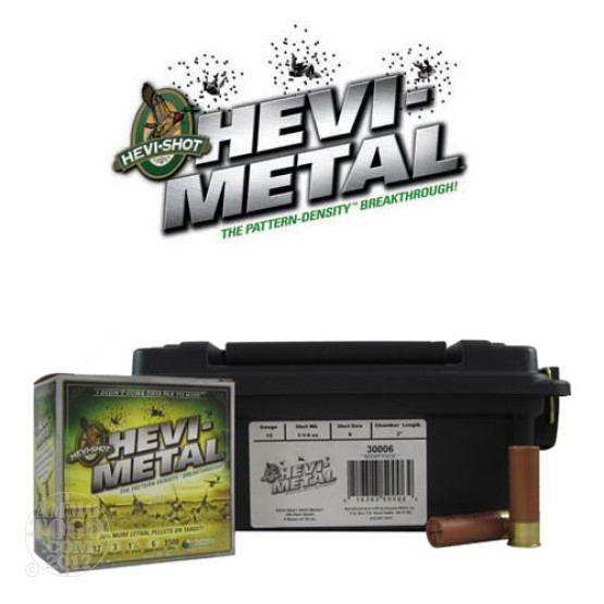 "100rds - 12 Gauge Hevi-Shot Sport Pack Hevi-Metal Waterfowl 3"" 1 1/4oz. #6 Shot Ammo in Polymer Ammo Can"