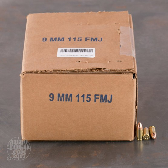 1000rds - 9mm DRS 115gr. FMJ Ammo (Once Fired Brass)