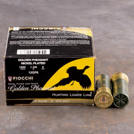 "25rds - 12 Gauge Fiocchi Golden Pheasant 2 3/4"" 1 3/8oz. #6 Shot Nickel Plated Ammo"