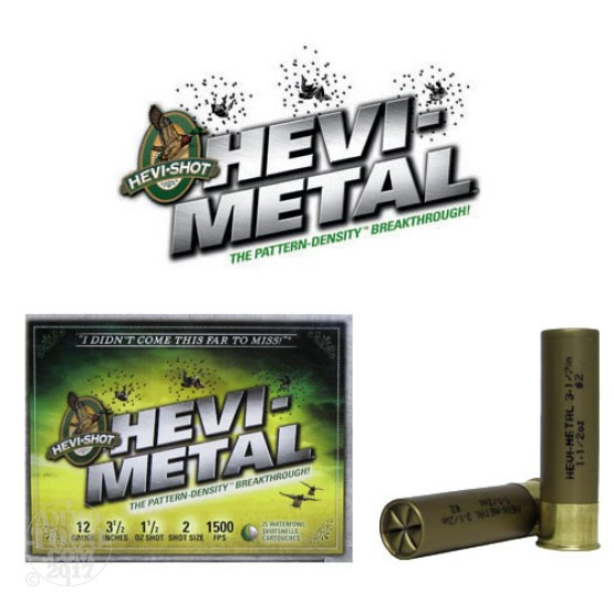 "25rds - 12 Ga. Hevi-Shot 3 1/2"" 1 1/2oz. Waterfowl #2 Hevi-Metal"