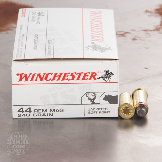50rds - 44 Mag Winchester USA 240gr. Jacketed Soft Point Ammo