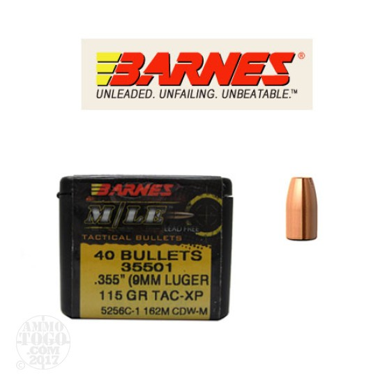 40pcs - 9mm Cal .355 Dia Barnes M/LE 115gr. Tac-XP Bullets