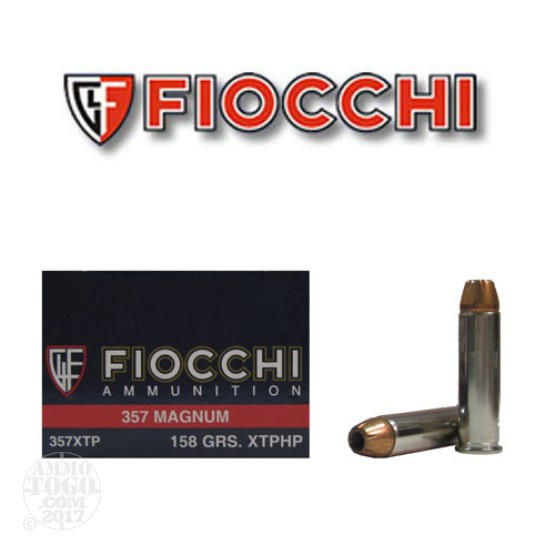 50rds - 357 Magnum Fiocchi 158gr XTP Hollow Point Ammo