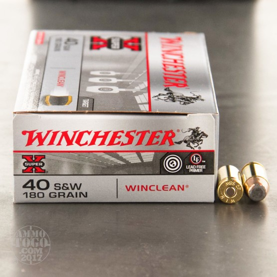 50rds - 40 S&W Winchester WinClean 180gr. BEB (FMJ) Ammo