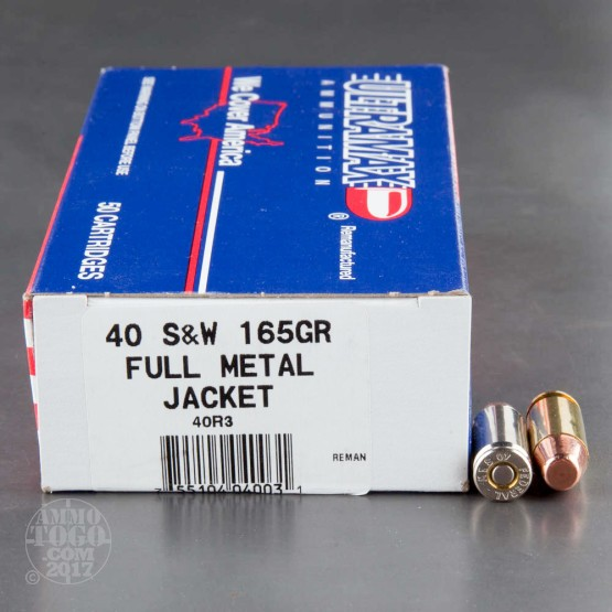 50rds - 40 S&W Ultramax Remanufactured 165gr. FMJ Ammo