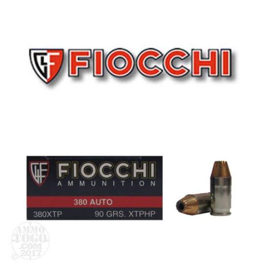 250rds - 380 Auto Fiocchi 90gr XTP Hollow Point