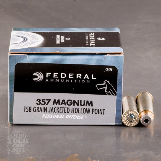 20rds - 357 Mag Federal 158gr. Hi-Shok Jacketed Hollow Point Ammo