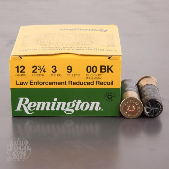 "250rds - 12 Gauge Remington Reduced Recoil LE 2 3/4"" 3 Dram 9 Pellet 00 Buckshot Ammo"