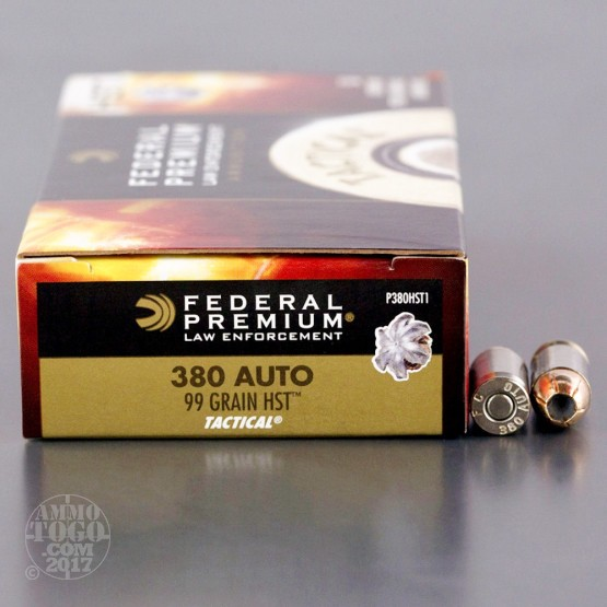 1000rds – 380 Auto Federal Tactical 99gr. HST JHP Ammo