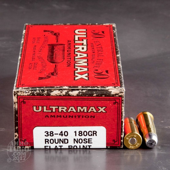 50rds - 38-40 Ultramax 180gr. Round Nose Flat Point Ammo