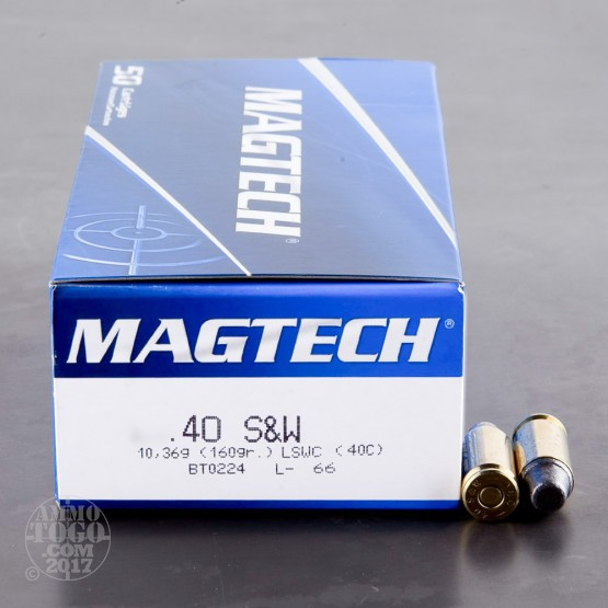 50rds - 40 S&W Magtech 160gr. LSWC Ammo