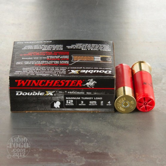 """100rds - 12 Gauge Winchester Double-X 3"""" 2oz. #4 Shot Ammo"""