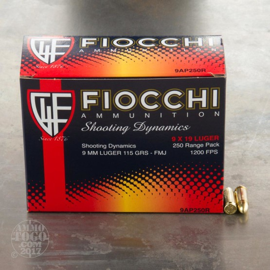 250rds - 9mm Fiocchi 115gr. FMJ Ammo