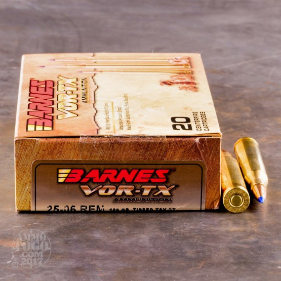 20rds - 25-06 Rem. Barnes 100gr Tipped TSX BT Ammo