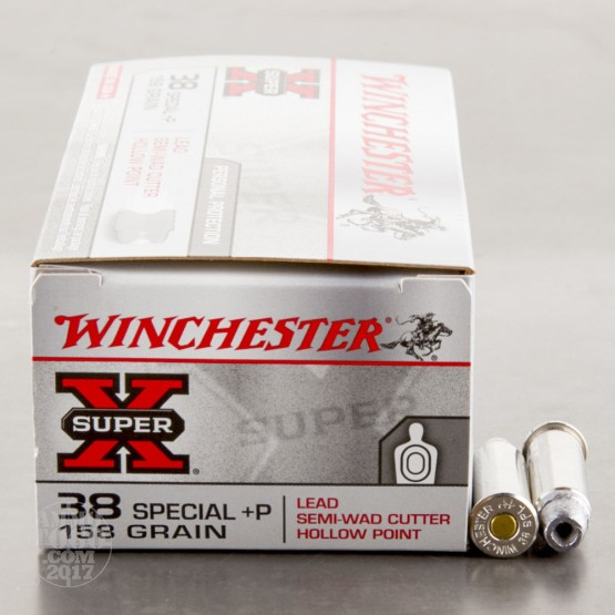 50rds - 38 Special Winchester 158gr Lead Semi-Wadcutter Hollow Point Ammo