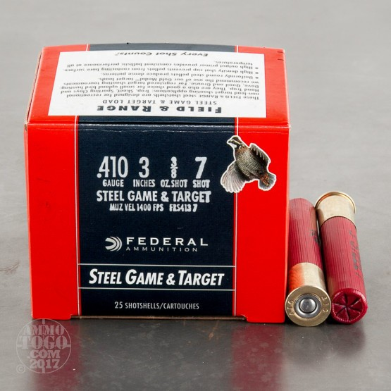 "25rds - 410 Gauge Federal Steel Game & Target 3"" 3/8oz. #7 Shot Ammo"