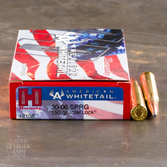 20rds - 30-06 Hornady American Whitetail 150gr. InterLock SP Ammo