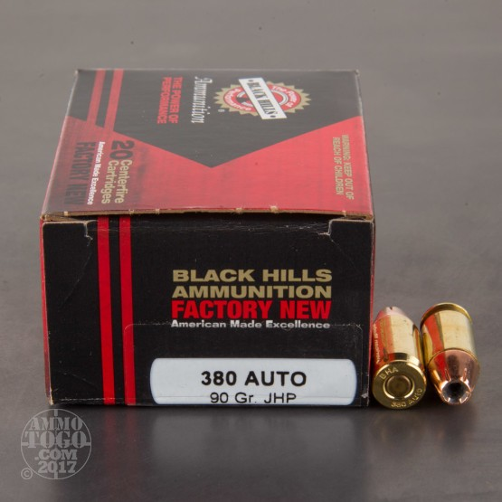 500rds - 380 Auto Black Hills 90gr. Jacketed Hollow Point Ammo