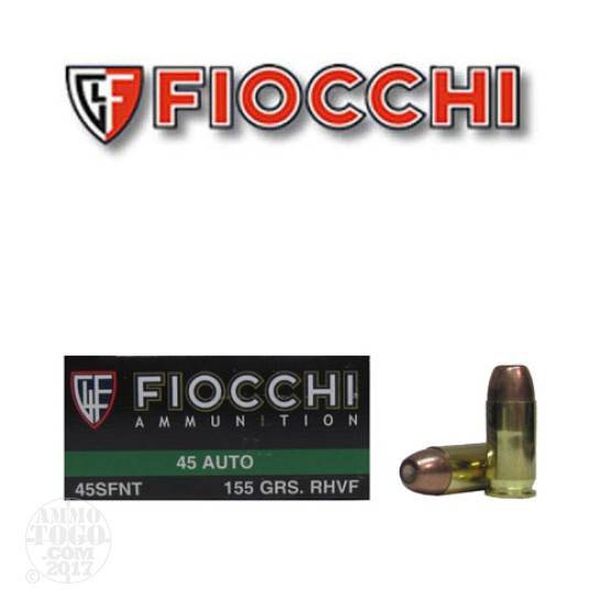 50rds - 45 ACP Fiocchi 155gr Sinterfire Leadless Frangible Ammo
