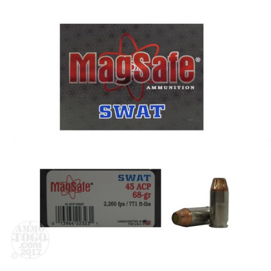 10rds - 45 ACP Magsafe 68gr. +P Super Swat Pre-Fragmented Ammo