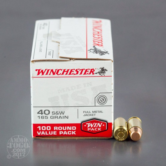 100rds - 40 S&W Winchester USA 165gr. FMJ Value Pack Ammo
