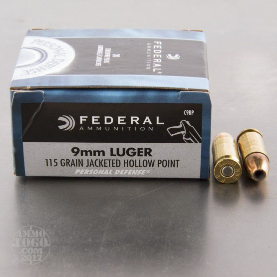 20rds - 9mm Luger Federal 115gr. JHP Ammo