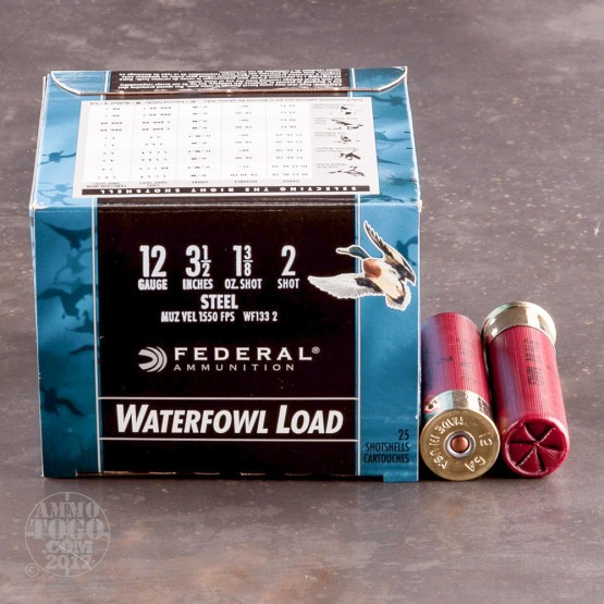 "25rds - 12 Ga. Federal Speed-Shok 3 1/2"" 1 3/8oz #2 Steel Shot"