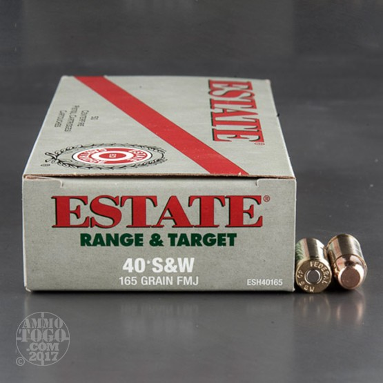 1000rds - 40 S&W Estate 165gr FMJ Ammo