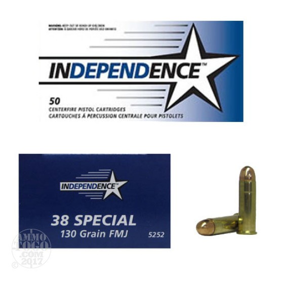 500rds - 38 Special Independence 130gr FMJ Ammo