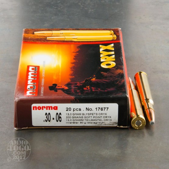 20rds - 30-06 Norma Oryx 200gr. Bonded Soft Point Ammo