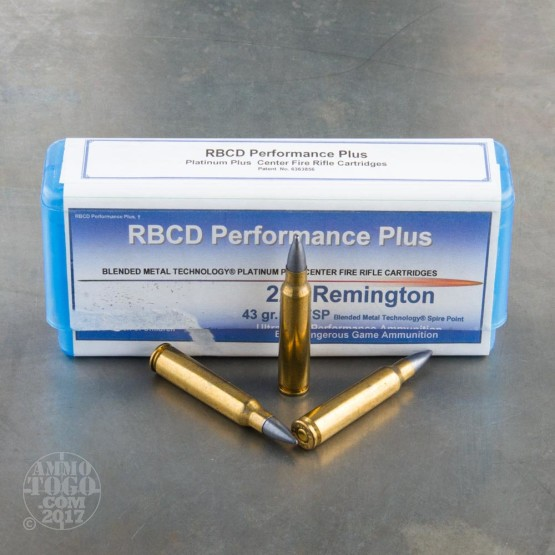 20rds - 223 RBCD Performance Plus 43gr. BMTSP Ammo