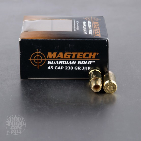20rds - 45 GAP Magtech 230gr. Jacketed Hollow Point Ammo