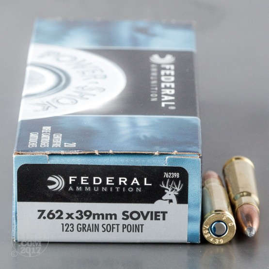 20rds - 7.62x39 Federal Power-Shok 123gr. SP Ammo