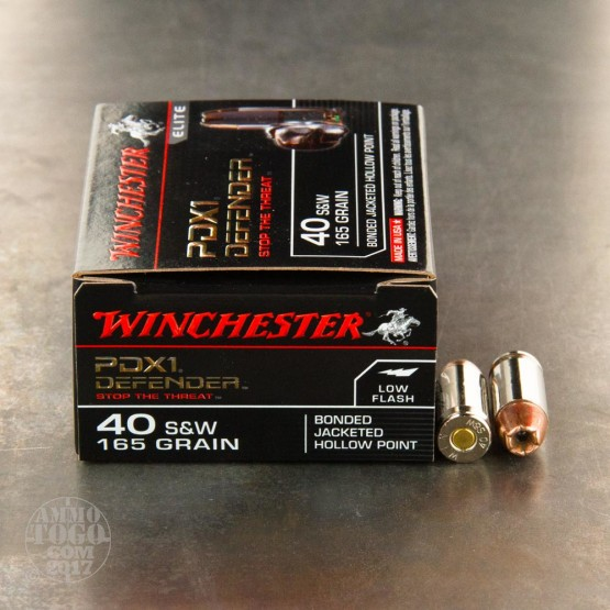 20rds - 40 S&W Winchester Supreme Elite 165gr. Bonded PDX Ammo
