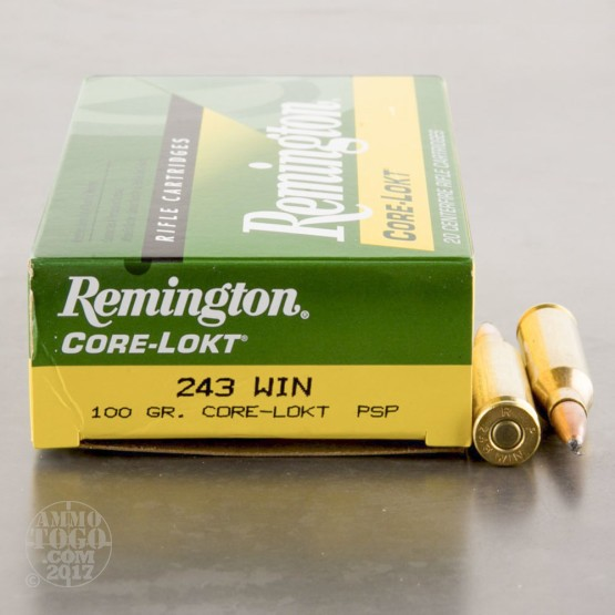 20rds - 243 Win Remington 100gr. Core-Lokt PSP Ammo