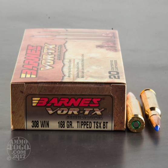 20rds - 308 Win. Barnes VOR-TX Polymer Tip 168gr. Tipped TSX Boattail Ammo