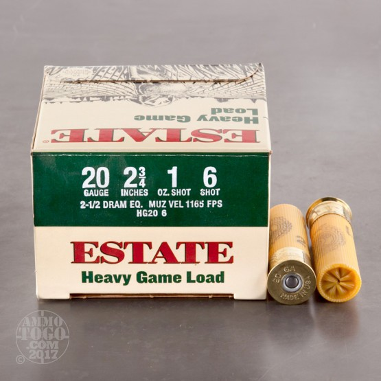 "250rds - 20 Gauge Estate Heavy Game Load 2 3/4"" 1oz. #6 Shot Ammo"