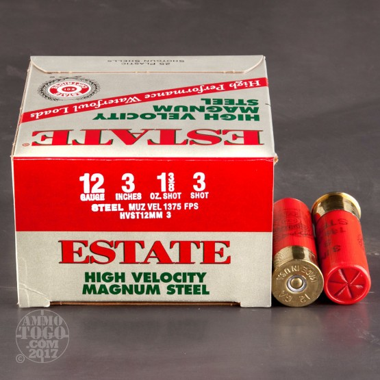 "25rds - 12 Ga. Estate 3"" 1 3/8oz. HV #3 Steel Shot"