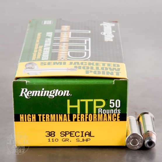 50rds - 38 Special 110gr. Remington HTP SJHP Ammo