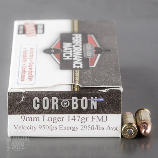 50rds - 9mm Corbon Performance Match 147gr. Sub-Sonic FMJ Ammo