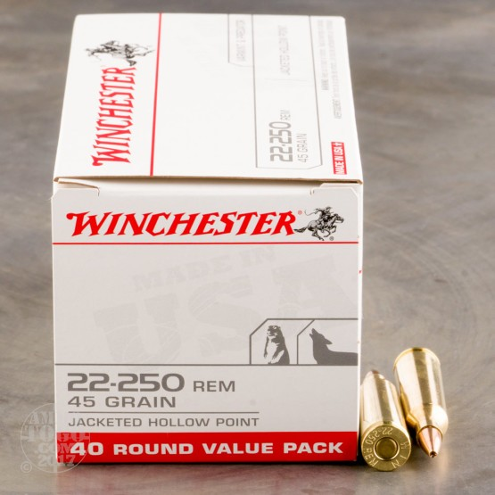 400rds - 22-250 Winchester USA Value Pack 45gr Hollow Point Ammo
